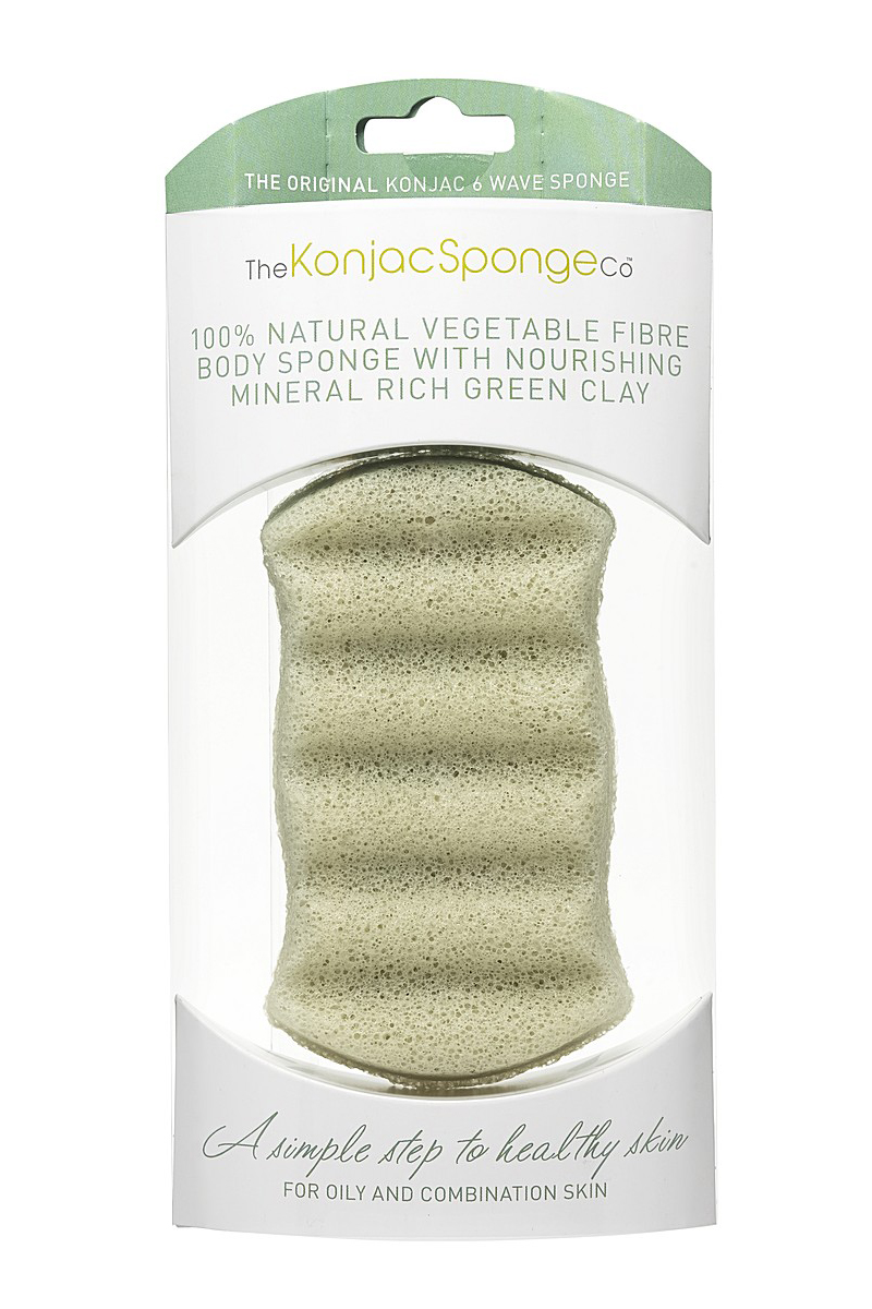 The Konjac Sponge Premium Six Wave Body Puff with French Green Clay