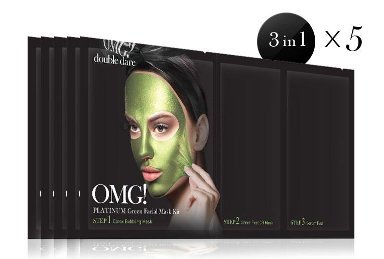 Double Dare OMG! Platinum GREEN Facial Mask Kit 5pcs