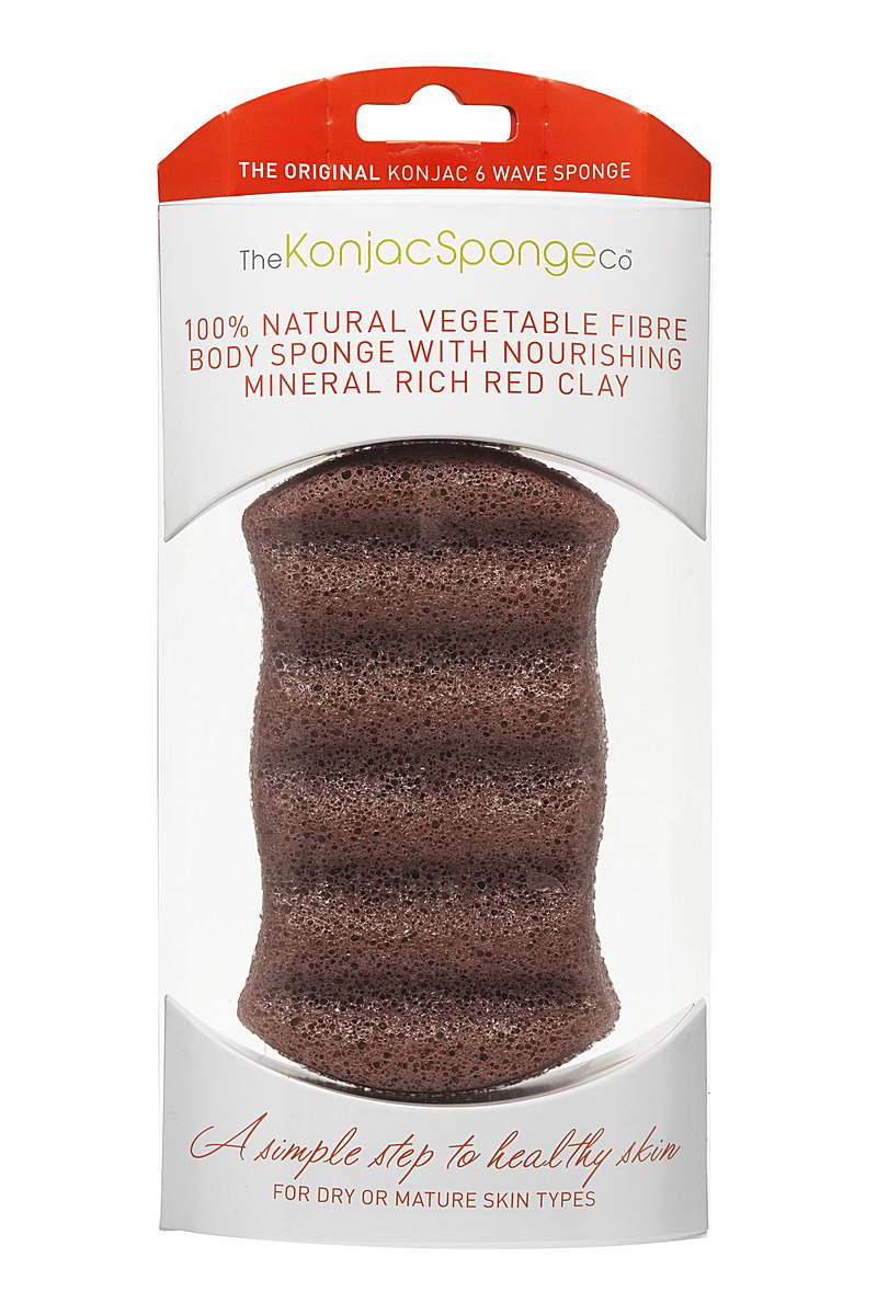 The Konjac Sponge Premium Six Wave Body Puff with French Red Clay